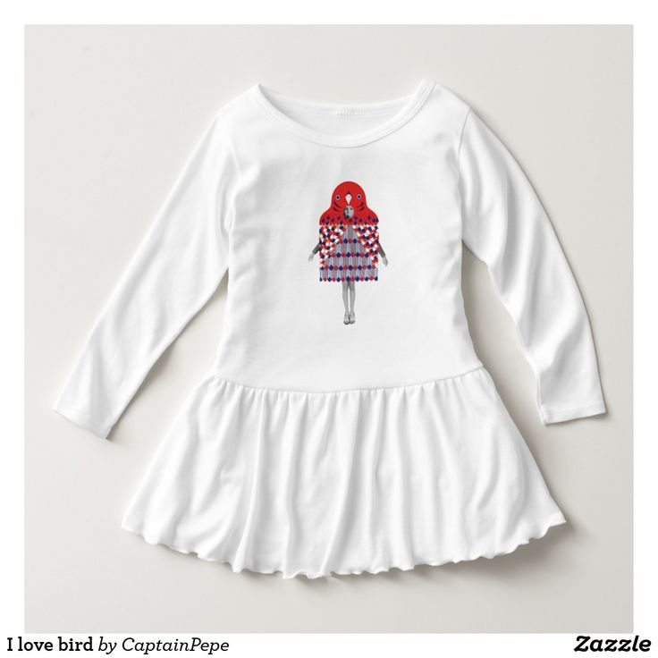 I love bird dress  Just when you thought your little fashionista couldn't get any cuter…this long-sleeve dress with a raw edge ruffle comes along. Pair it with a bow and ballet flats for a dressier occasion, or dress it down with leggings and sandals. It's the perfect ensemble for a toddler who's active and stylish.. Visit Fin's new store kn zazzle for more designa