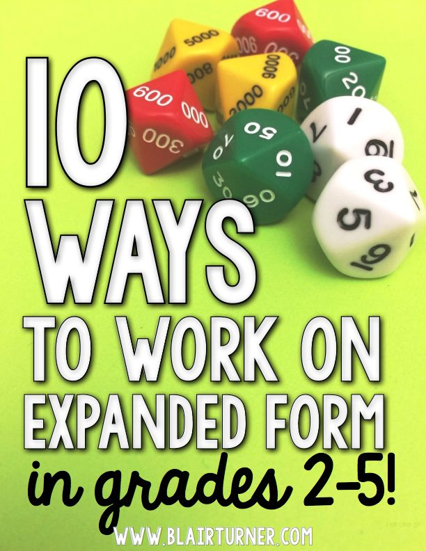 Check out this great post on expanded form, from Blair Turner.  Excellent ideas and many free resources!