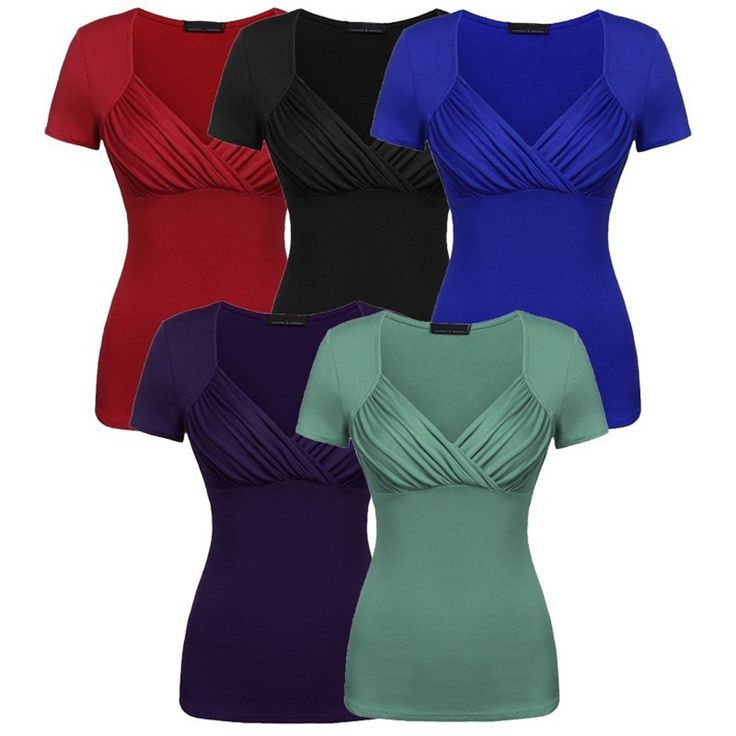 Women's Fold V-Neck Bottoming T-Shirt Short Sleeves Plus Top Ladies Vest Top Hx