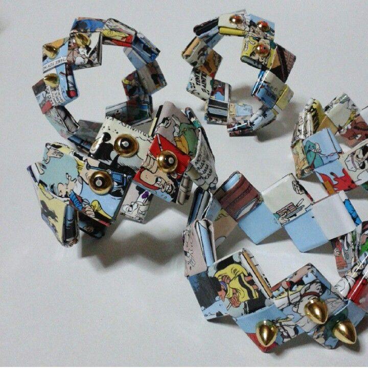 Handmade bracelet by L_L.♡ #handmade #handmadeingreece #origami#paper#cartoon #bracelet #colorful#gold#studs #jewerly #accessories#greekdesigner #calliopil_l