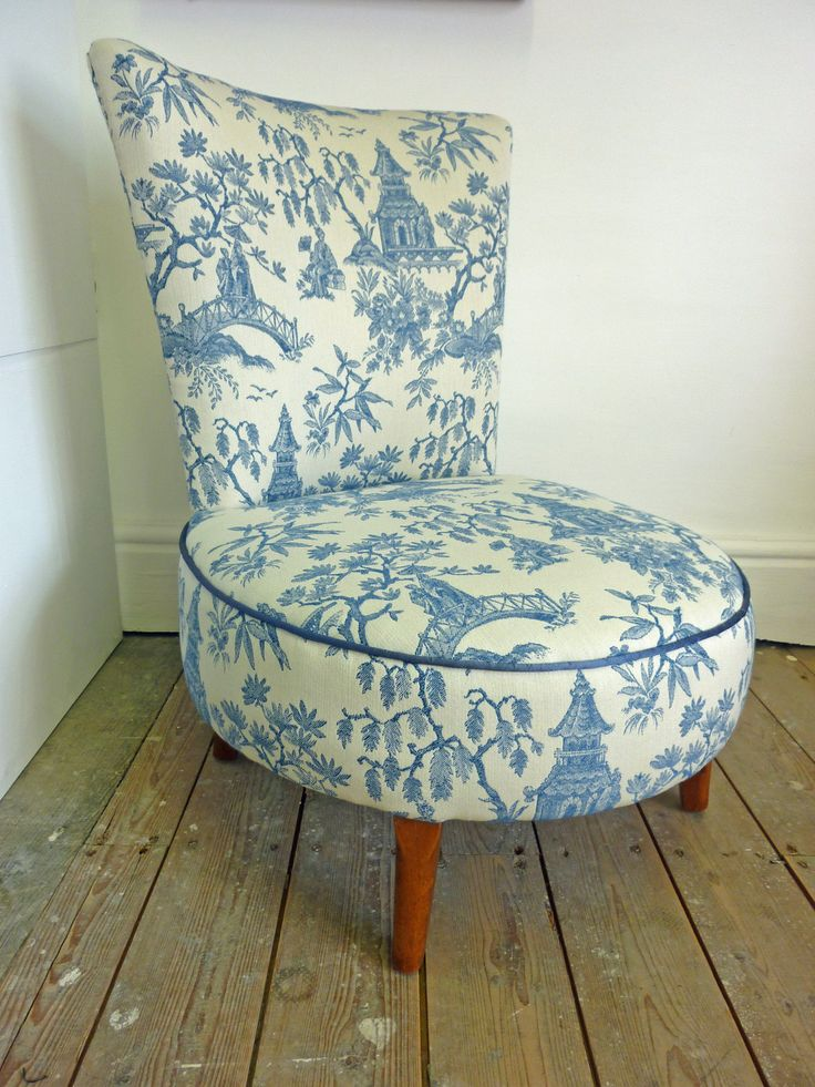 Traditionally reupholstered nursing chair, using all traditional fixtures and fillings. Sprung seat to give extra comfort and durability. Reupholstered in a woven oriental Willow-Pattern style Toile de Jouy or Chinoiserie fabric and piped in a luxurious blue silk. This chair will last a lifetime, you should be able to pass it on to your grandchildren before it needs reupholstering again!