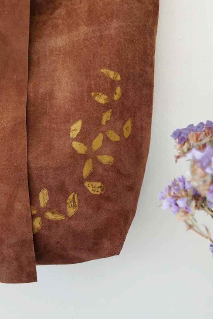 leather handmade hamdprinted tote bag detail minimal flower pattern city chic saysomething lab design visit us on Etsy https://www.etsy.com/shop/Saysomethinglab?ref=l2-shopheader-name