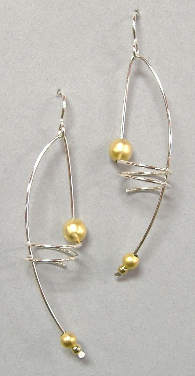 Silver Wire Gold Bead Spiral Earrings