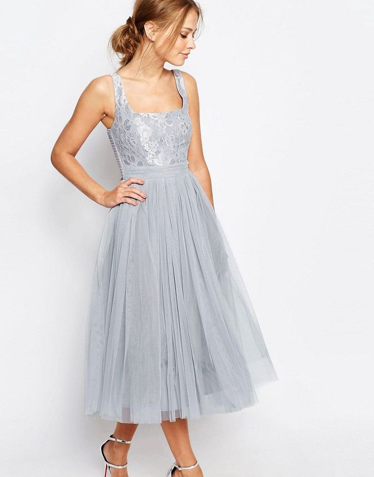 Little Mistress Tulle Midi Dress with Lace – Gray