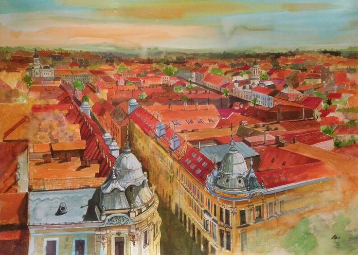 """Cluj 1""-Cluj City , Romania.Watercolor by Gabriela Calinoiu.  www.picturipeisaje.wordpress.com"