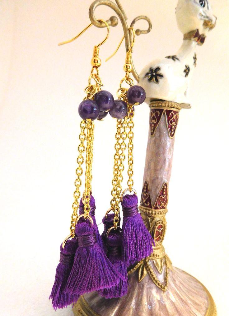Boho Tassell Earrings in deep purple; 3 graduated length goldtone chains, 3 genuine Amethyst Gemstones, gold plated ear wires