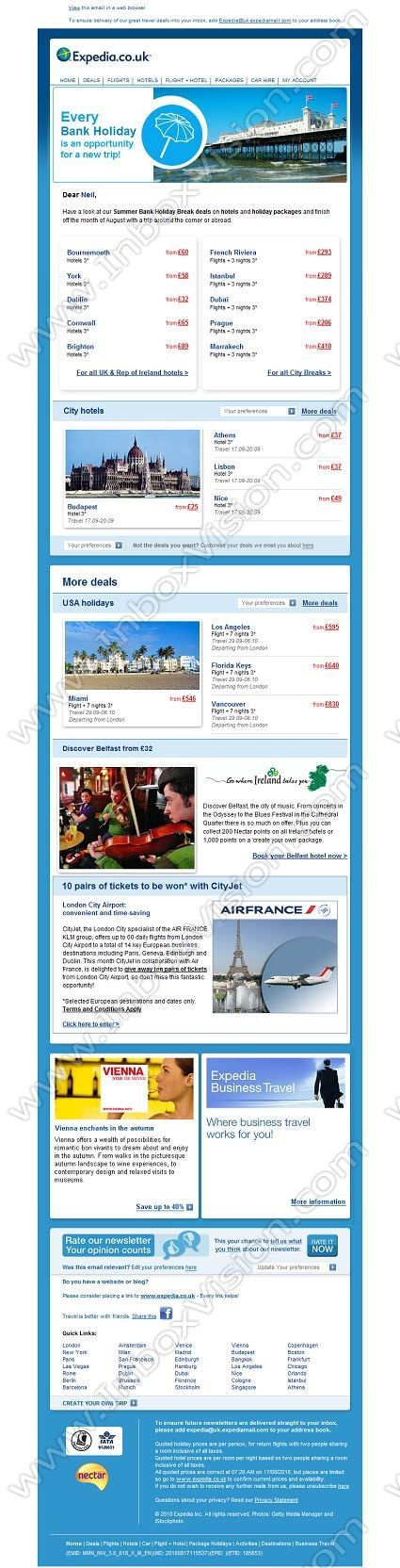 Company:  Expedia.co.uk  Subject:  Our Top Bank holiday deals            INBOXVISION is a global database and email gallery of 1.5 million B2C and B2B promotional emails and newsletter templates, providing email design ideas and email marketing intelligence http://www.inboxvision.com/blog