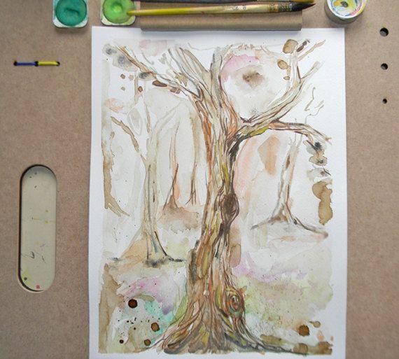 Oak tree watercolor Original nature painting by AquarelleDream