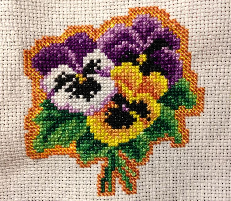 X-stitch, cross stitch pansies