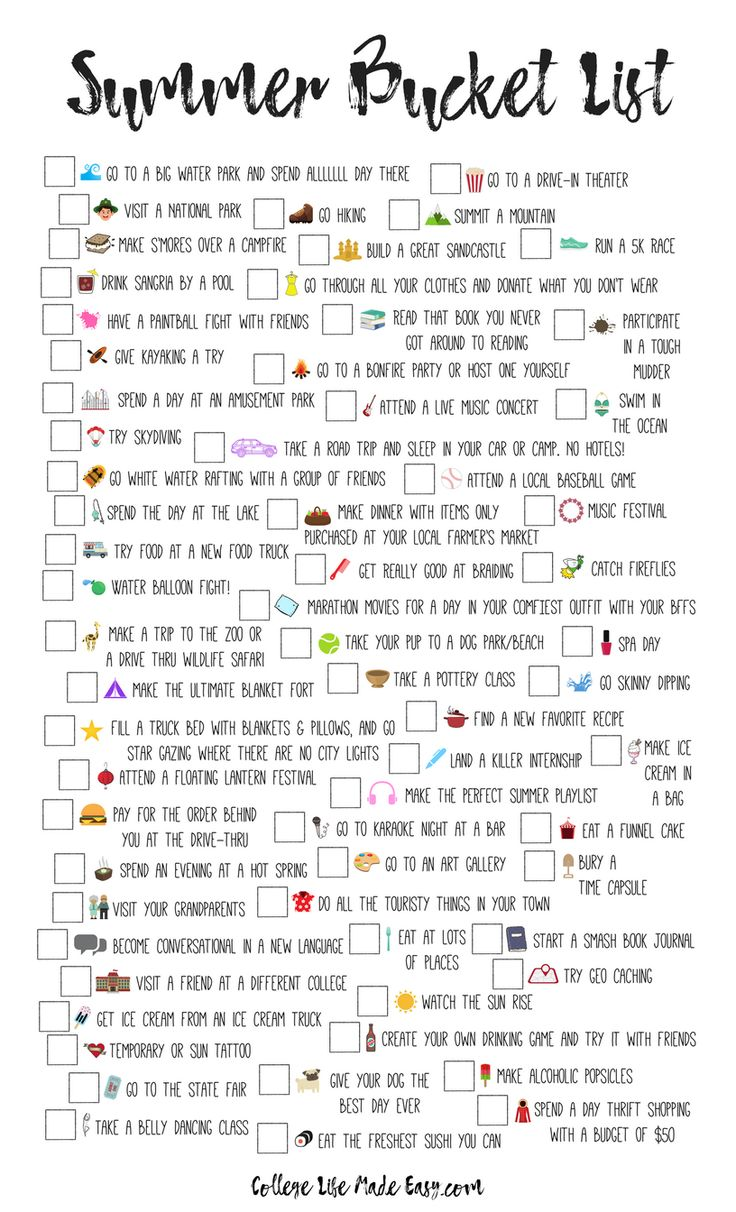 Summers in college are meant for checking things off your bucket list! This list of unique ideas is for more than just 20 year olds, though. It's for teens, for adults, for high school seniors, for girls and for guys. Free printable bucket list included!
