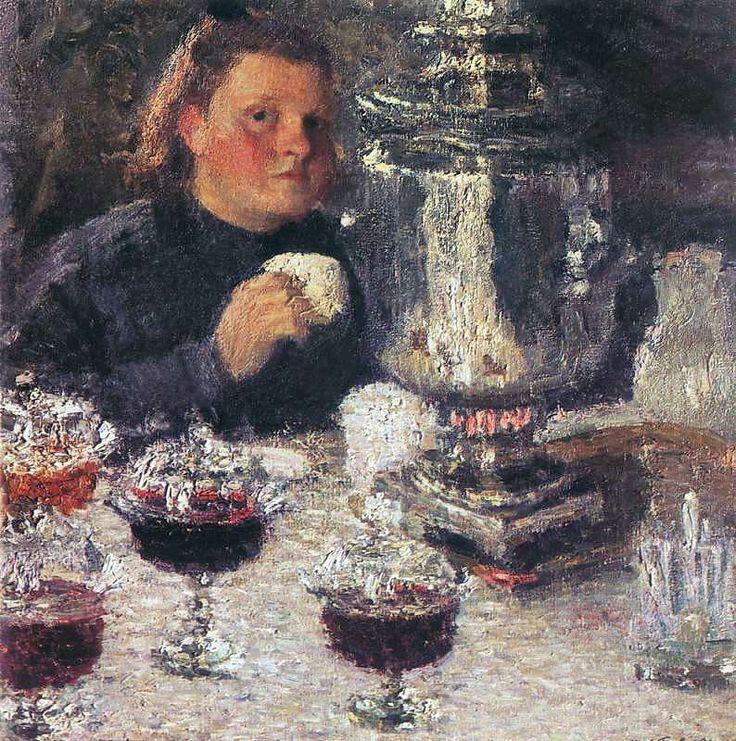 Игорь Эммануилович Грабарь (1871-1960) - За самоваром, 1905