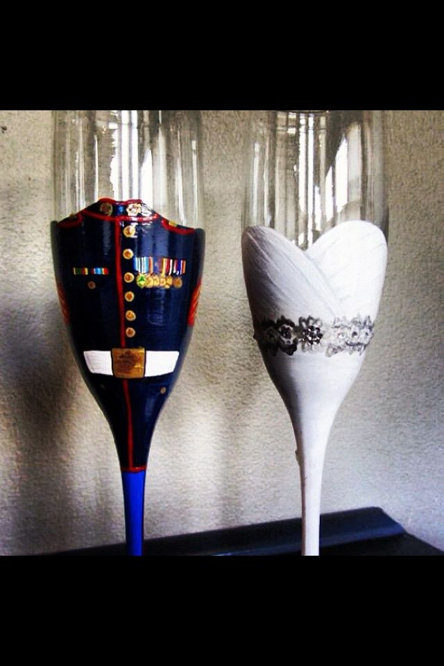 Painted Glasses For BRIDE And GROOM   I Love This Idea! Military, Cowboy,  Football, Whatever! Awesome Bride/groom Glasses For Reception!