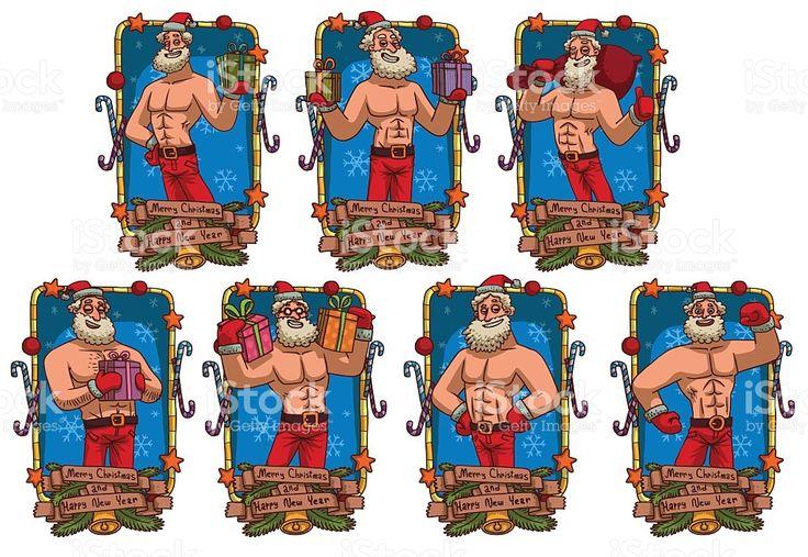 Conjunto de azul quadros com forte de Santa cláusula vetor e ilustração royalty-free royalty-free