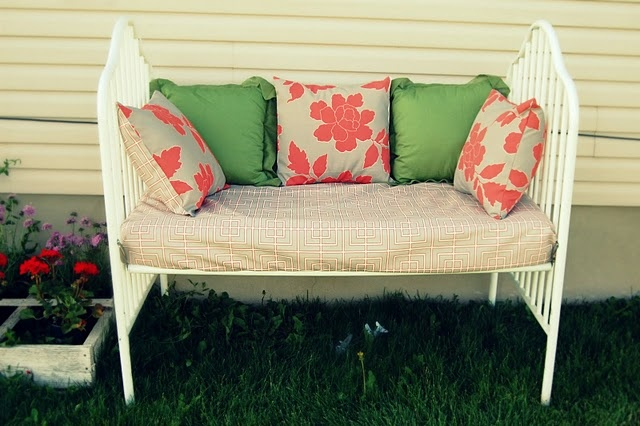 crib upcycled into a bench