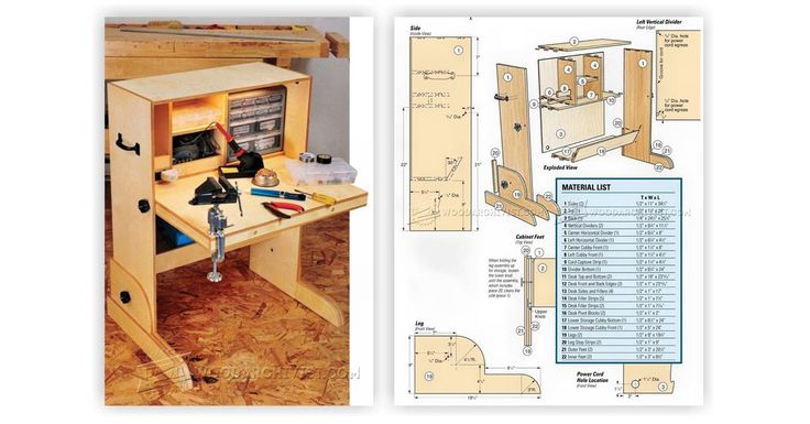 Hobby Desk Plans - Workshop Solutions Projects, Tips and Tricks | WoodArchivist.com