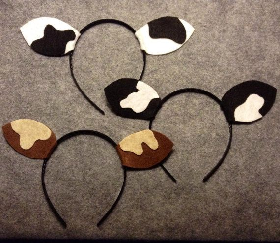 1 Cow ears headband birthday party favors Christmas pageant nativity scene play costume barnyard dress up decor farm animal supplies spots
