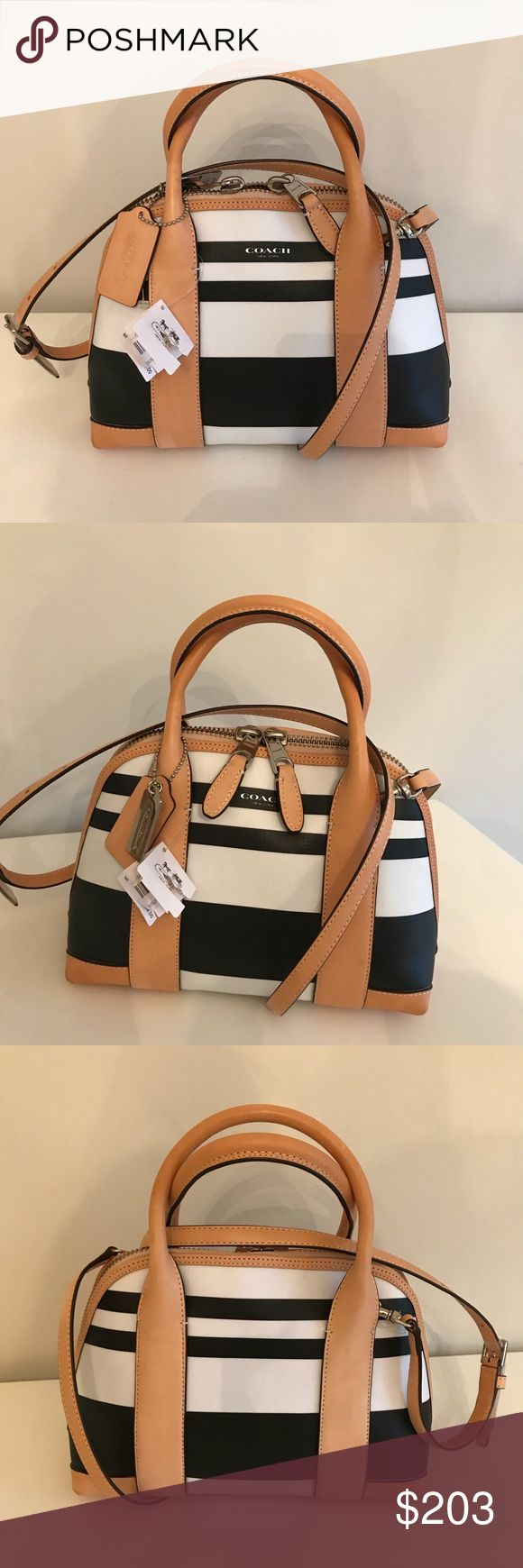 NWT Coach Mini Preston Satchel NWT Coach Bleeker Striped Coates Canvas Mini Preston in Silver Black White.  New with tags.  One small flag in bottom corner of bag (see photo for more detail).  Otherwise excellent condition. Coach Bags Satchels