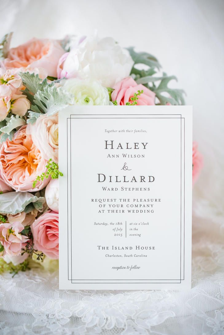 This bride and groom were going for elegant simplicity with their wedding invitations with plain white paper and black lettering.