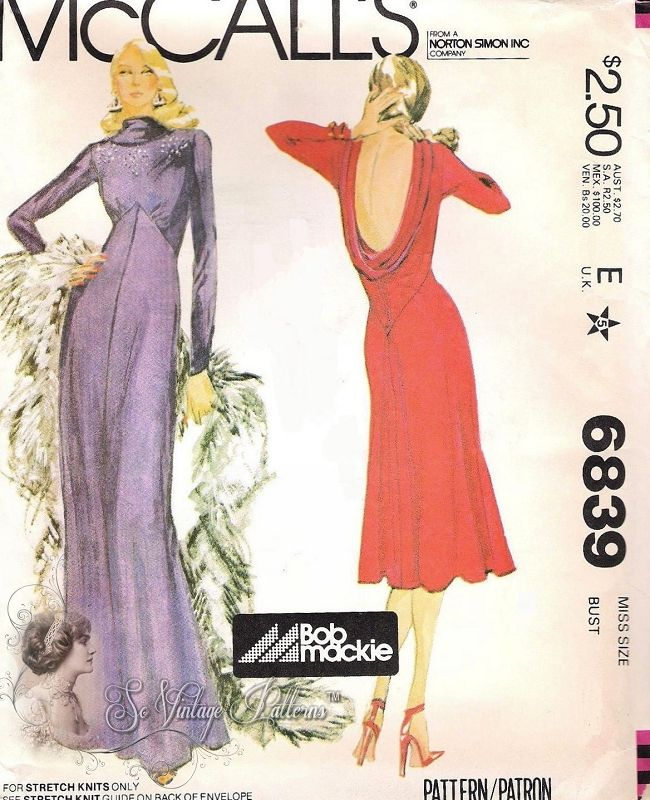 1970s Bob Mackie Classy Evening Dress Pattern Siren Low Cowl Back Flared Dress in Cocktail or Evening Formal Lengths Stunning 70s Design McCalls 6839  Vintage Sewing Pattern UNCUT Bust 36