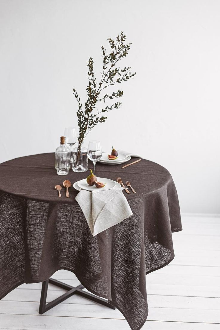 Dark Brown Linen Tablecloth Thick Linen Table Cloth Dining Table Decor Round Rectangular Square Tablecloths Custom Size Tablecloth In 2020 Dining Table Decor Brown Tablecloths Bathroom Decor Accessories
