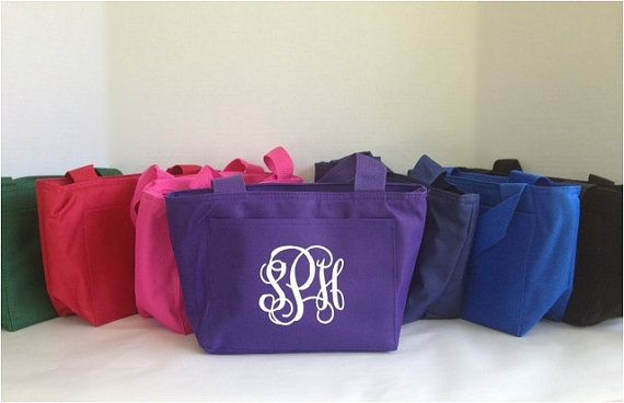 Monogram Lunch Tote - Personalized Lunch Bag - Back to School - Insulated Lunch Box
