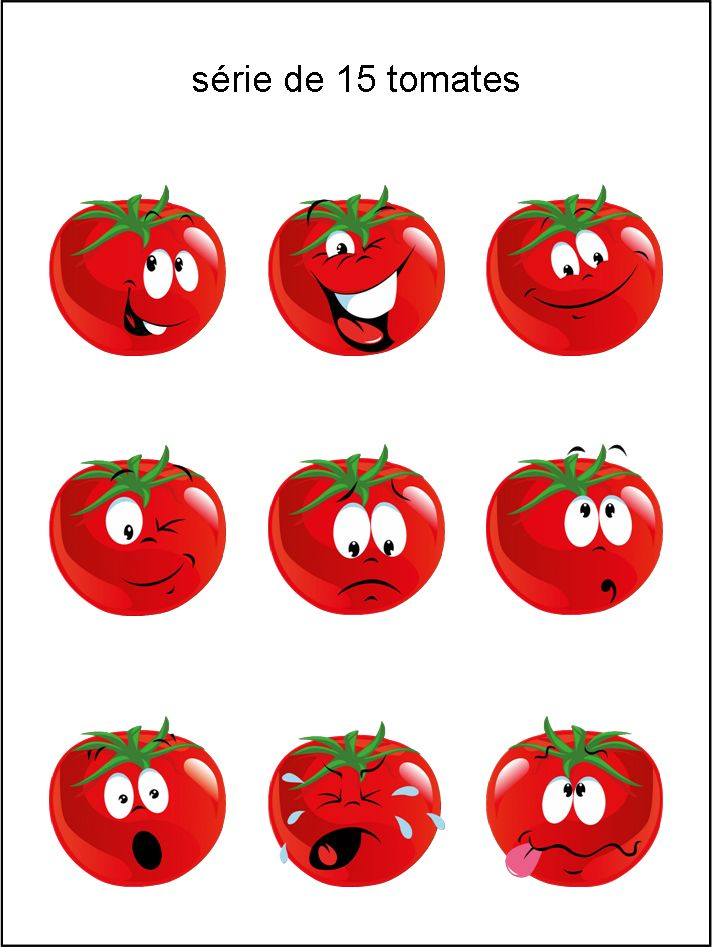 émoticônes, smileys, cliparts, visage tomate, rouge, heureux, rire, sourire, content, en colère, en pleurs, larme, triste, étonné, grimace, clin d'œil, surpris, téléchargement, gratuit, séries, collections