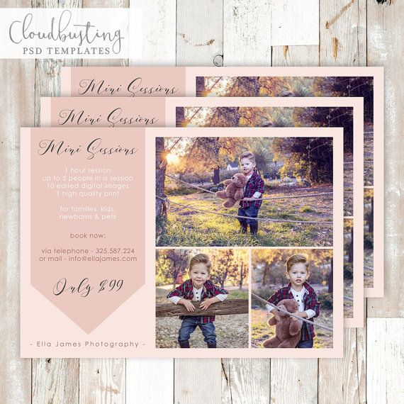 Photography Mini Session Card - Customizable Photoshop Template - https://www.etsy.com/listing/285371565