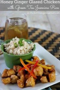Honey Ginger Glazed Chicken with Green Tea Jasmine Rice | Recipe on PocketChangeGourmet.com