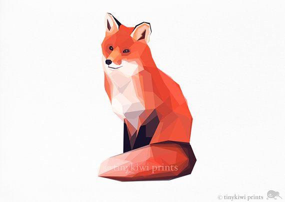 Fox 1, Geometric print, Original illustration, Animal print