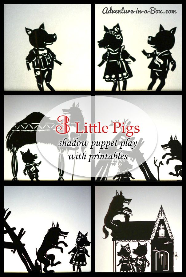 Three Little Pigs: Shadow Puppet Play with Printables