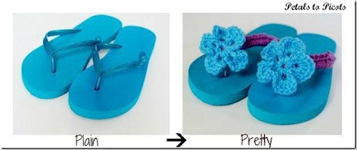 Crocheted Flip Flops Tutorial with Flower Pattern | Petals to PicotsPetals to Picots