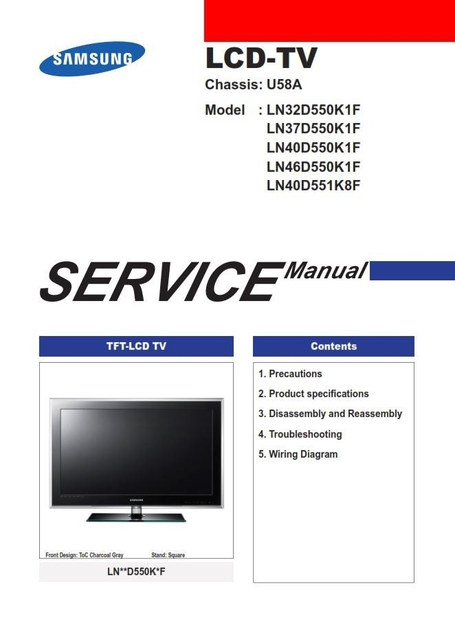 Samsung Ln32d550k1f Ln37d550k1f Ln40d550k1f Ln46d550k1f Ln40d551k8f Service Manual Repair Guide Screen Repair Electronic Schematics