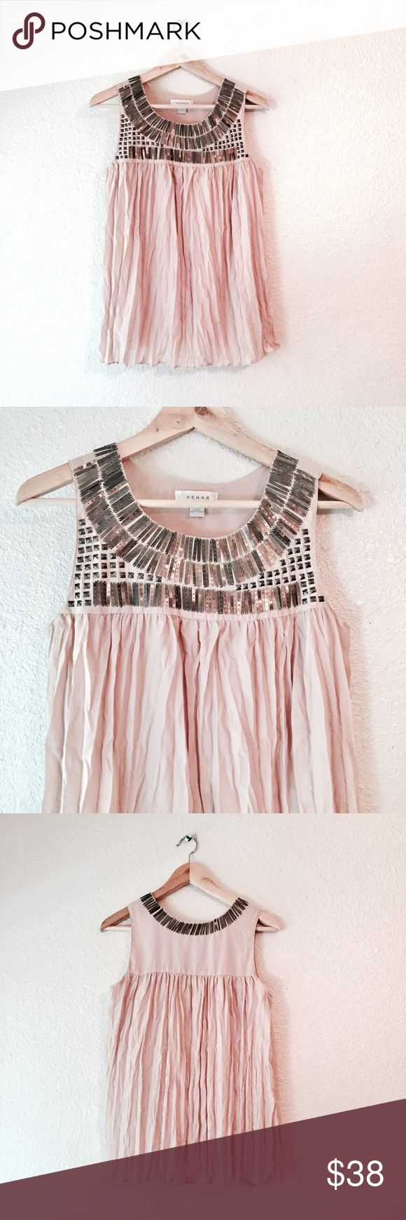 Kenar rose blush pink tank top metallic sequin S Amazing Kenar tank top. Super feminine and edgy at the same time! Light pink muted blush color. Ruffle crinkle tank that is so Flowy. Fully lined, so it's not see through. Silver gunmetal sequins are at the top  which gig every this an edgy vibe. Excellent used condition. Size small. Kenar Tops Tank Tops