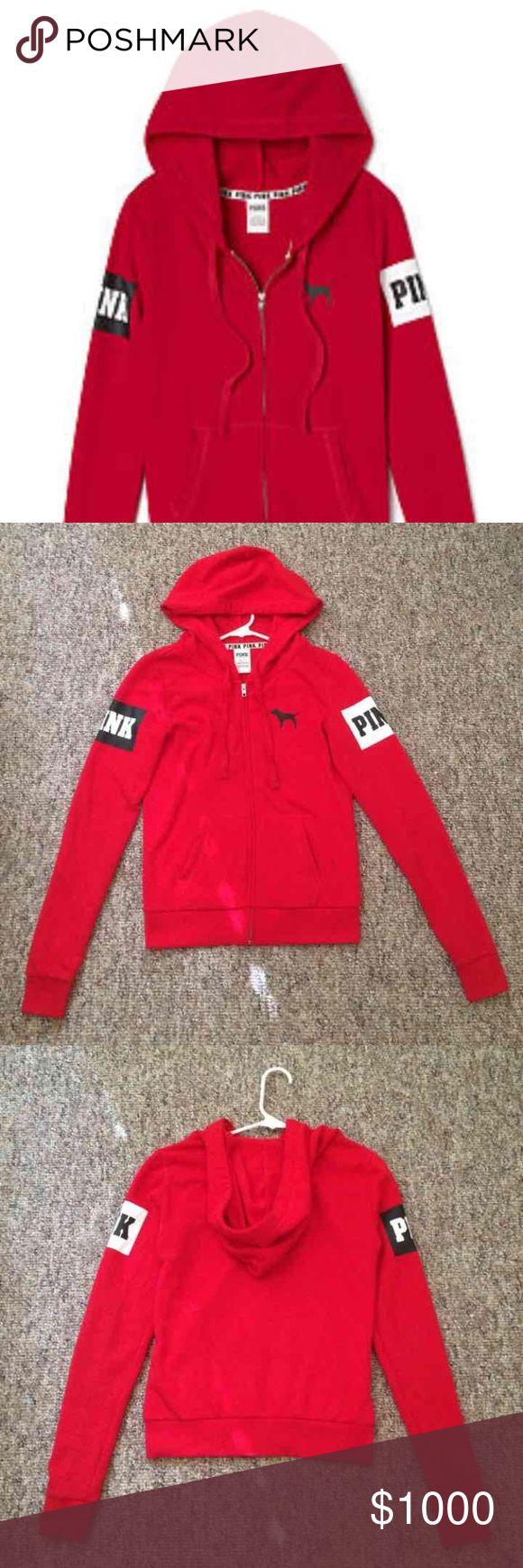 ISO Victoria's Secret Pink red zip up hoodie M In search of this red Victoria's Secret Pink zip up hoodie size medium! Not for sale! PINK Victoria's Secret Tops Sweatshirts & Hoodies