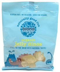 These delicious gluten-free organic gummy candies are shaped like little dinosaurs, but are packed with big flavor! Made with natural fruit juice flavorings and without gelatin, these imported sweets are a delight for children and adults alike. 75g (2.67 oz.) package is $4.99. Ingredients: Organic glucose syrup, organic raw cane sugar, pectin, citric acid, malic acid, natural vegan flavorings, organic elderberry juice concentrate, organic caramel syrup, organic turmeric extract, algae…