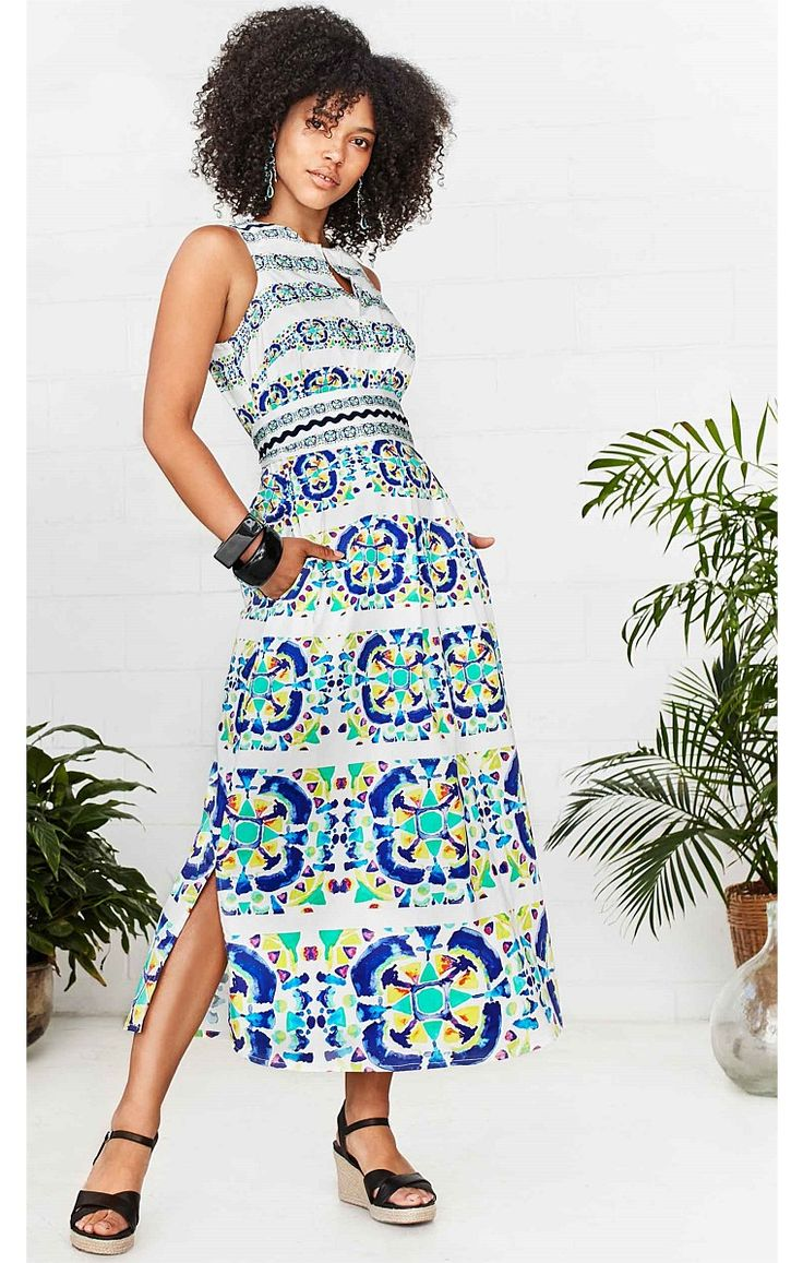 NEW ARRIVALS, DANIA LONG COTTON SLEEVELESS SHIRTMAKER DRESS WITH SIDE SPLIT IN BLUE CIRCLE PRINT