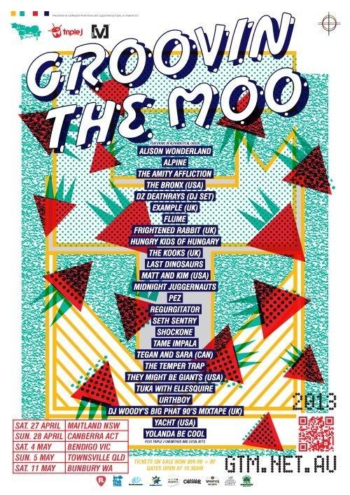Groovin The Moo 2013 - 12 bands: Urthboy; Matt and Kim; Seth Sentry; Alpine; Frightened Rabbit; Regurgitator; They Might Be Giants; Tame Impala; Flume; Tegan and Sara; The Kooks; The Temper Trap (34/30)