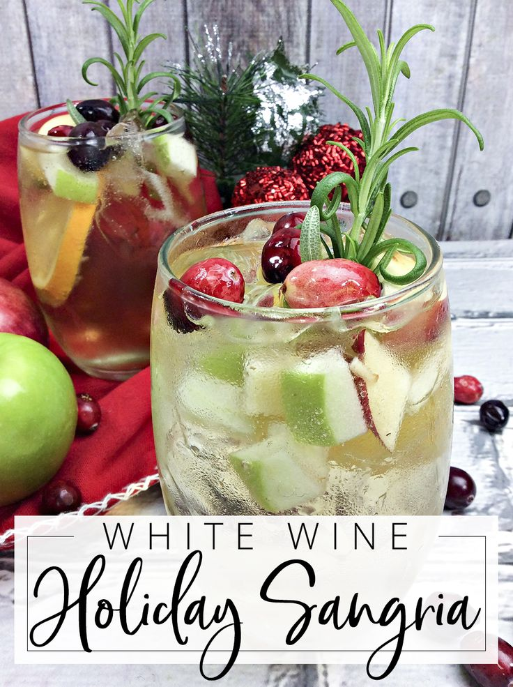 I can't lie. Wine and sangrias are my all time favorite choices for alcoholic beverages. Wine is my go-to for last minute occasions but if I have the tiniest bit of time to put a plan together, I'll make some sort of sangria that suits the season. Like these White Wine Holiday...
