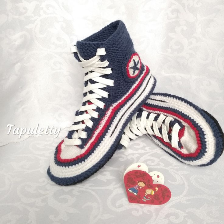 Crochet converse boots/40 House slippers women Knitted converse sneakers Socks slippers women House shoes Socks with sole Blue knit slippers