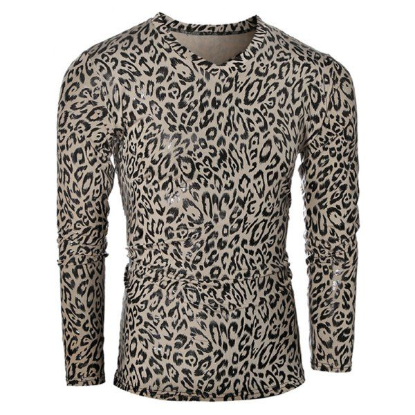 Leopard Pattern V-Neck Long Sleeve Men's T-Shirt #jewelry, #women, #men, #hats, #watches