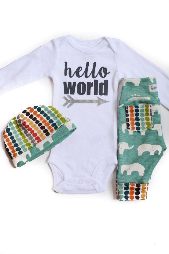 Baby boy going home set elephant theme hello world by GigiandMax