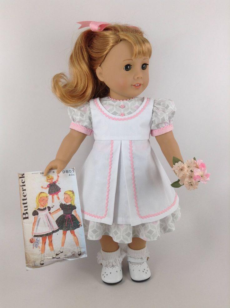 1950  de 1960 vestido delantal y el arco del pelo de muñeca