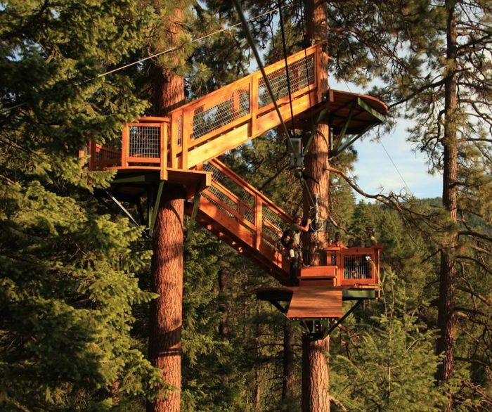 7 Line Canopy Tour in CDA Soar from tree to tree on a 2 hour, 7 line canopy tour. You will fly through the sky as you admire the lake below. You will be securely harnessed high in the trees, taking in all the beauty Coeur d' Alene has to offer. Call if your desired departure time is not listed, we will try our best to accommodate you!