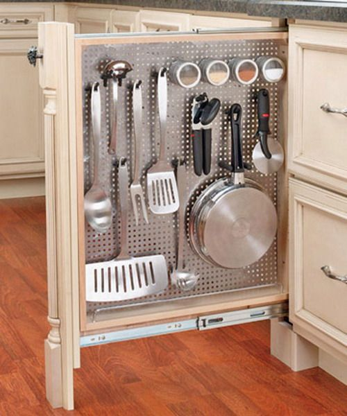 Pull out peg board for cooking utensils. Would be perfect combined with other pull out shelves for cooking oils and spices. From Shelterness.