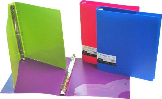 Amazon.com: Filexec 3 Ring Binder, 1 Inch Capacity, Opaque, Letter size, Pack of 4, Blue, Hot Pink, Purple, Green (50162-6497): Office Products