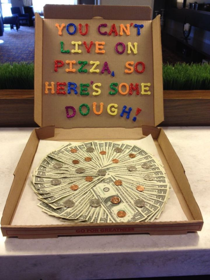 How Much Money For Wedding Gift For Brother : clever way to give money. Just get a pizza box and spread the money ...