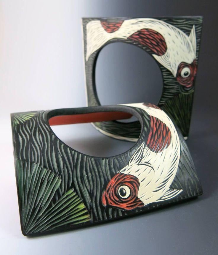 Donna Mato - Koi bangles - carved polymer clay