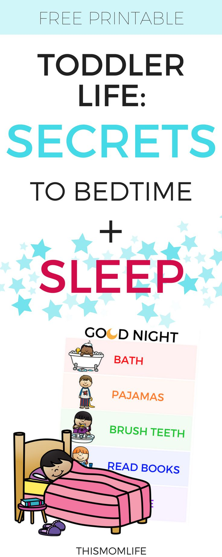 Toddler's Nighttime Routine Chart, Bedtime Routine Chart, Free Printable Routine, Get your Toddler to sleep