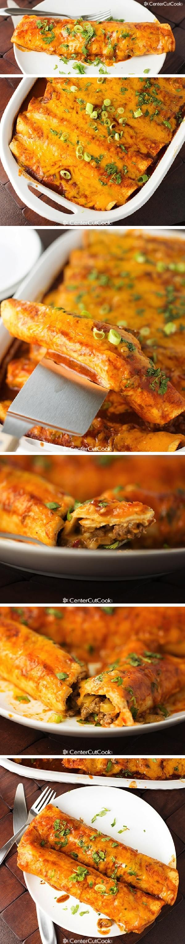 SPICY CHEESE and BEEF ENCHILADAS are just oozing with a spicy beef filling, and lots of gooey cheddar cheese!