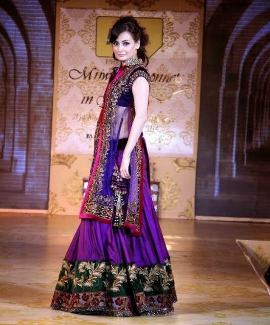 #DiaMirza in #ManishMalhotra Blue #Designer #Lehenga
